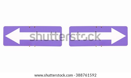 Blank direction arrow sign with copy space, type your own text, left and right arrows over blue background vintage - stock photo