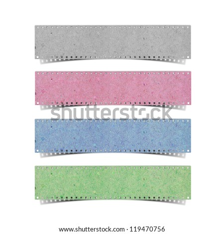 blank film strip recycled paper craft stick on white background