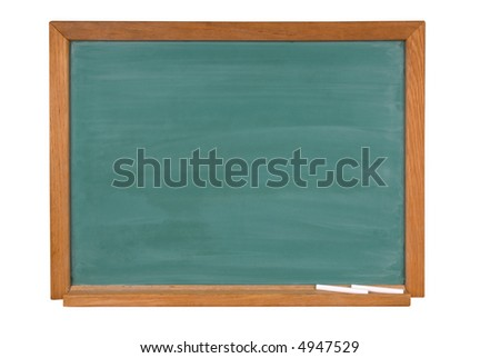 Blank green chalk board with chalk in a wood frame isolated over white with a clipping path - stock photo