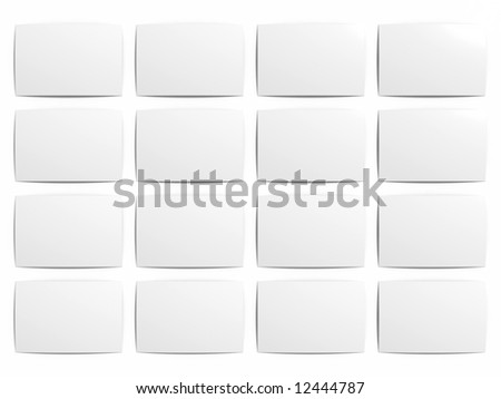 16 blank printed snapshots (with clipping path) - stock photo