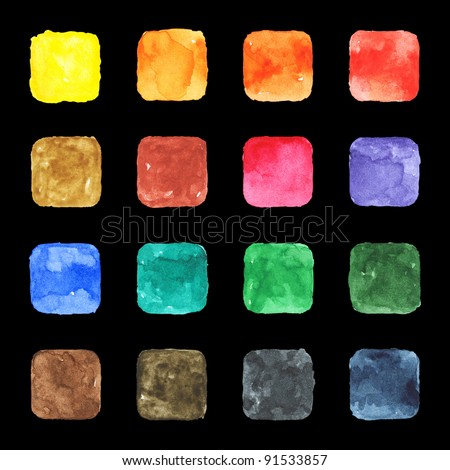 16 blank watercolor colored blank rounded square shapes web buttons on black background