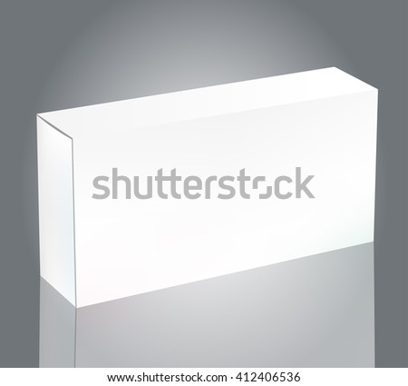 Blank White Package Box for Blister of Pills Isolated on Background. Template Package Box Design for Branding. - stock photo