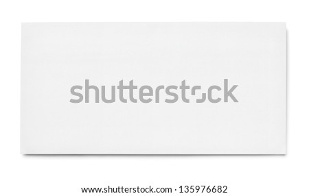 blank white paper on white background with clipping path - stock photo
