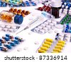 Blister pack of pills. Medicament. - stock photo