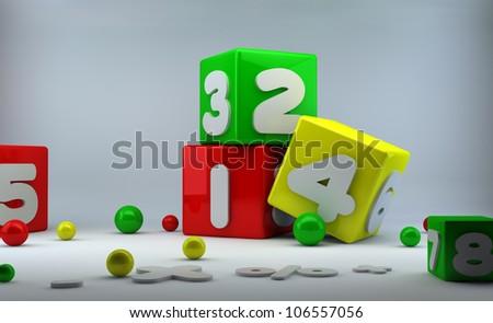 123 Blocks - stock photo