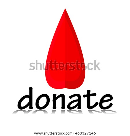 Blood Donation Symbol for Awareness Campaigns, Isolated with copy space on white