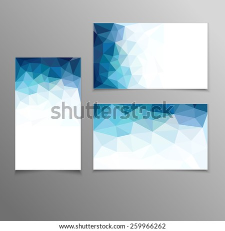 blue abstract business card templates - stock photo
