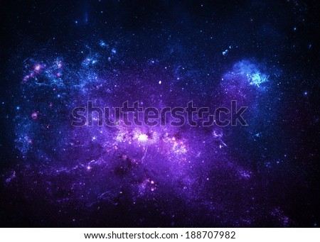 Blue And Purple Nebulae - Elements of this Image Furnished By NASA - stock photo