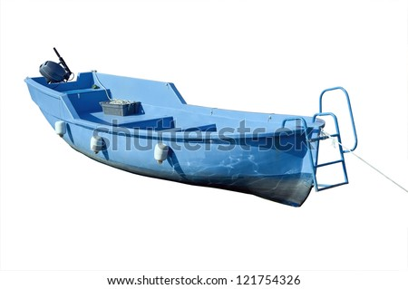 Blue boat isolated over white background - stock photo