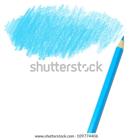 blue colored pencil drawing  on a white background - stock photo