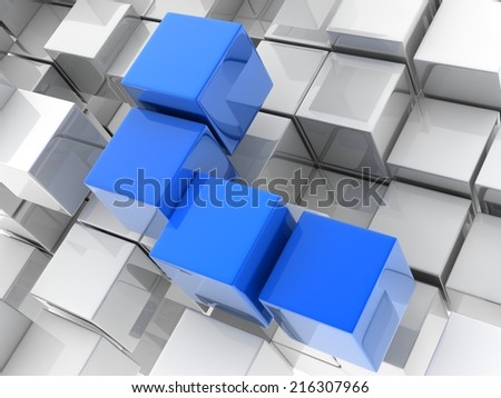 4 blue cubes placed observably in a group of white cubes.