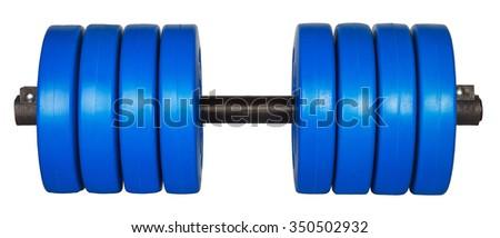 blue dumbells weight isolated on white background - stock photo