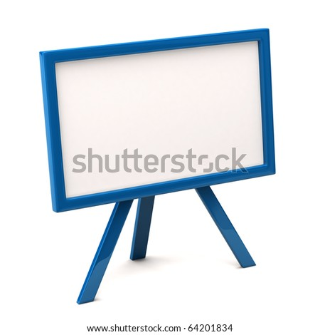 Blue easel with blank canvas