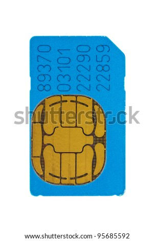 blue gsm phone sim card  isolated on white background - stock photo