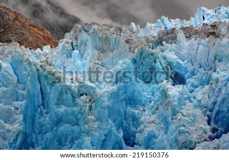 """Blue Ice of the South Sawyer Glacier"" Tongass National Forest, Alaska. - stock photo"