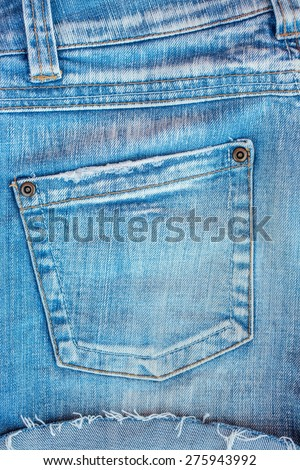 Blue jeans pocket closeup - stock photo