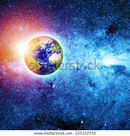 blue planet earth in space. Elements of this image furnished by NASA - stock photo