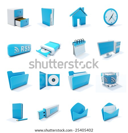 16 blue plastic 3d icons isolated on white - stock photo
