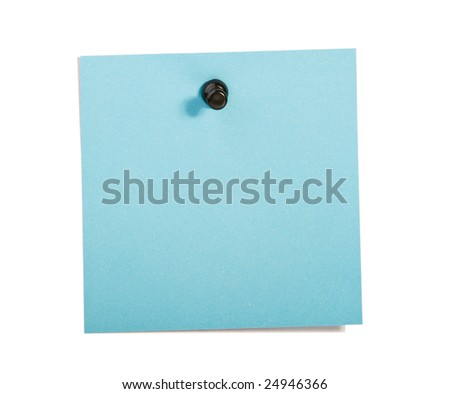 Blue  reminder note with black pin on white background - stock photo