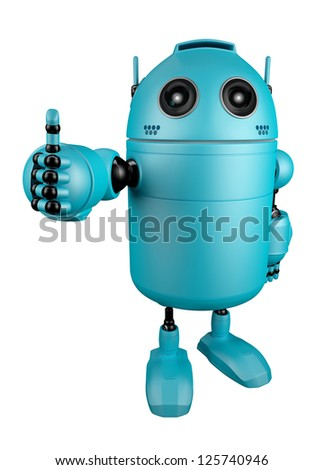 Blue Robot giving thumbs up.  Isolated over white backgroun