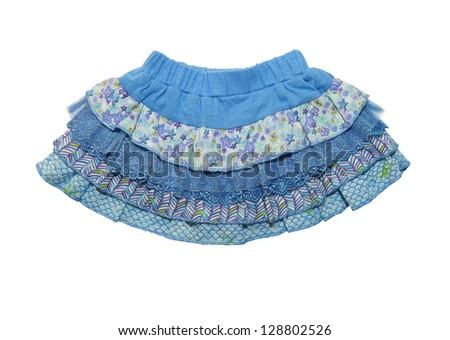 blue skirt for  girl, isolated on white background - stock photo