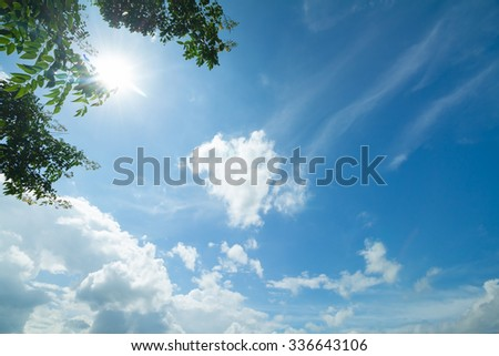 blue sky and clouds in good weather days - stock photo
