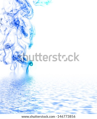 Blue smoke reflected in water surface.