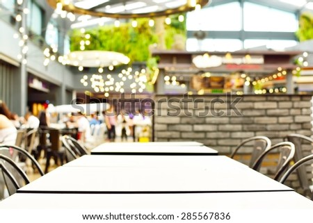 Blur or Defocus Background with bokeh light of empty Table in coffee shop - stock photo