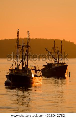 Boats In Bar Harbor, Maine - stock photo