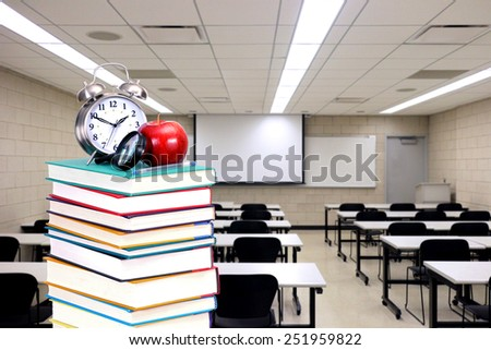 book stack and class room for back to school concept - stock photo