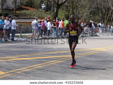BOSTON - APRIL 18: Jordan Chipangama with other elite men race up the Heartbreak Hill during the Boston Marathon April 18, 2016 in Boston. [public race]