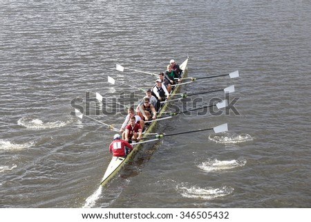 BOSTON - OCTOBER 18, 2015: Harvard races in the Head of Charles Regatta Men's Master Eights [PUBLIC RACE]