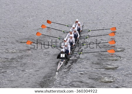 BOSTON - OCTOBER 18, 2015: Hobart College races in the Head of Charles Regatta Women's Master Eights [PUBLIC RACE]