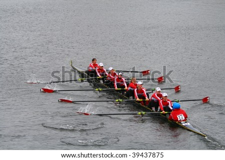 BOSTON - OCTOBER 18: McGill University women's rowing team competes in the Head Of The Charles Regatta on October 18, 2009 in Boston, Massachusetts.