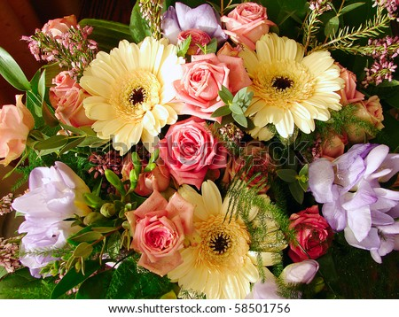 Bouquet flowers - stock photo