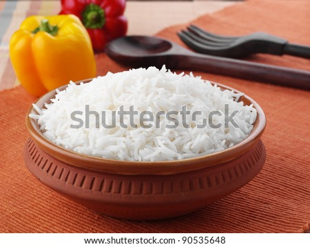 Bowl of Cooked Rice - stock photo