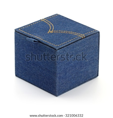 box with denim lines style isolated on white background - stock photo