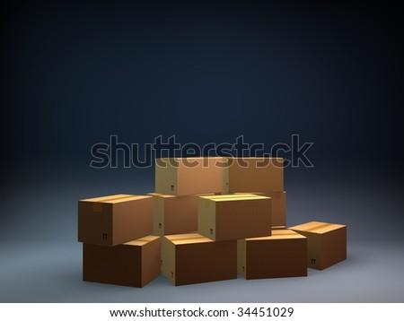 boxes 3d - stock photo
