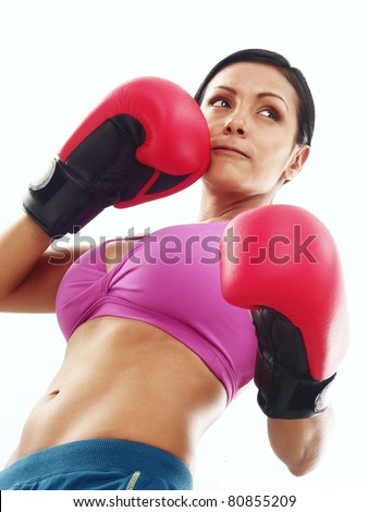 Boxing gloves woman portrait on white background. - stock photo