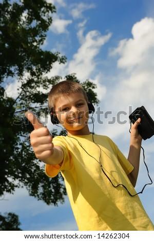 boy in headphones-2 - stock photo