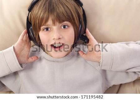 boy listening to music - stock photo