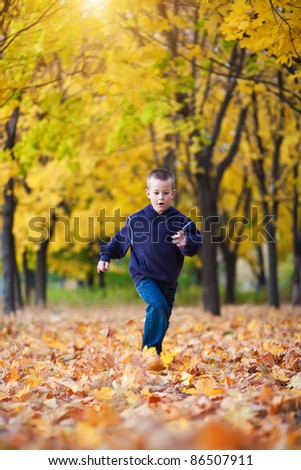 boy running in the yellow leaves - stock photo