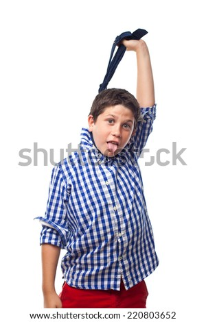 boy with plaid shirt and tie Hangman - stock photo