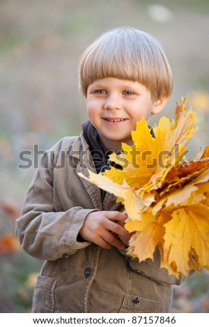 boy with red autumn leaves - stock photo