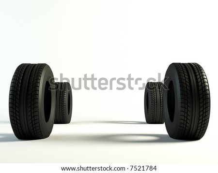 4 Brand new tyre, 3d rendering of car wheel. front view - stock photo