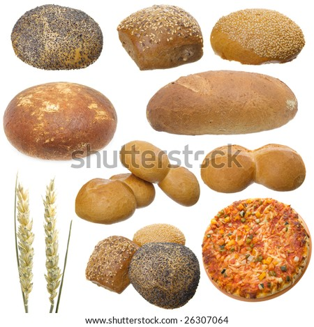 Bread set isolated on a white background - stock photo