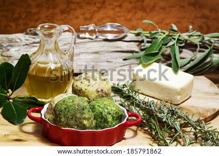 bread,spinach and bacon stuffed dumpling with ingredients recipe - stock photo