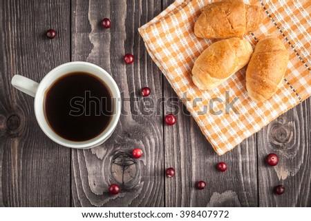 breakfast with coffee, breakfast with croissant, tasty breakfast - stock photo