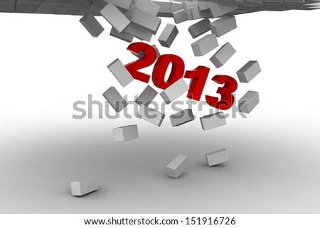 2013 breaking brick wall abstract 3d illustration - power solution 3d concept - stock photo