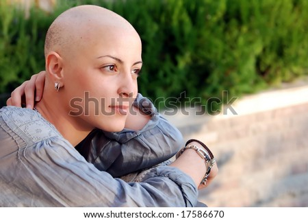 Breast cancer survivor with positive attitude - stock photo